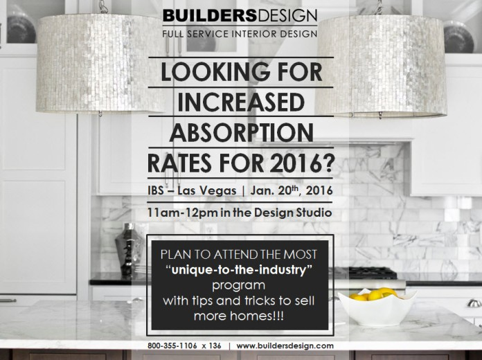 BUILDERS DESIGN at IBS January 20th in the Design Studio